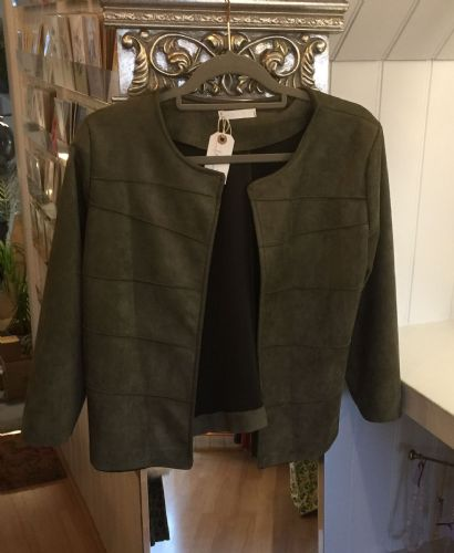Faux Suede Ribbed Open Jacket - Olive Green